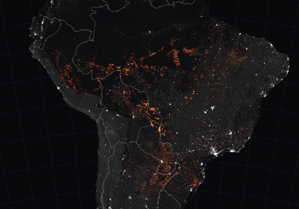 Amazon fires 15-22 August 2019. Image credit: Joshua Stevens, using MODIS data from NASA EOSDIS/LANCE and GIBS/Worldview, Fire Information for Resource Management System (FIRMS) data from NASA EOSDIS, and data from the Global Fire Emissions Database (GFED). Image source: https://www.earthobservatory.nasa.gov/images/145498/uptick-in-amazon-fire-activity-in-2019