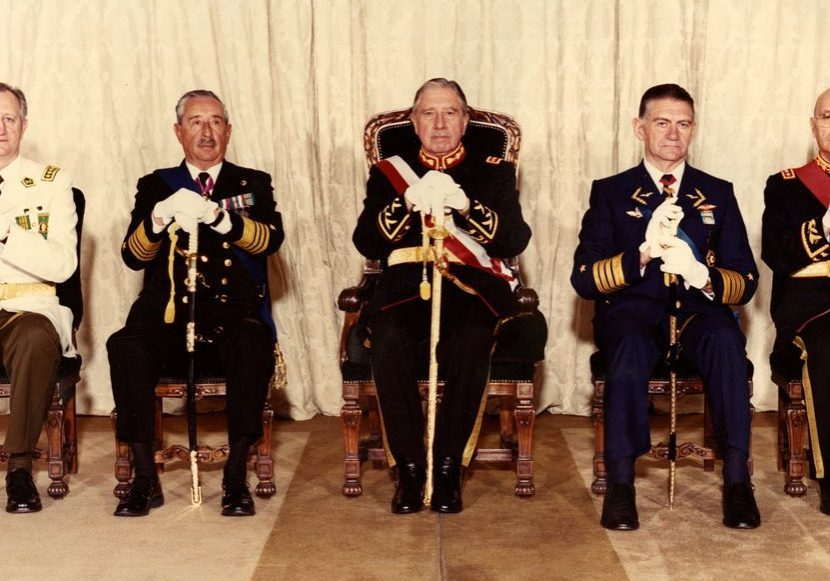 Members of Chile's Government Junta in 1985: Rodolfo Stange, José Toribio Merino, Augusto Pinochet, Fernando Matthei and César Benavides (from left to right). At this point, Pinochet was no longer officially a member of the Government Junta.