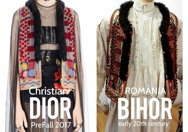 "Comparing Dior and the Romanian original. <a href=""https://steemit.com/life/@fromplacetospace/what-s-wrong-with-the-fashion-industry-on-theft-and-cultural-appropriation"" target=""_BLANK"" rel=""noopener noreferrer"">(Image source: Steemit)</a>"
