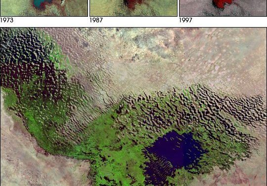 A set of satellite images show the shrinkage of Lake Chad over time. (Source: Wikimedia Commons)