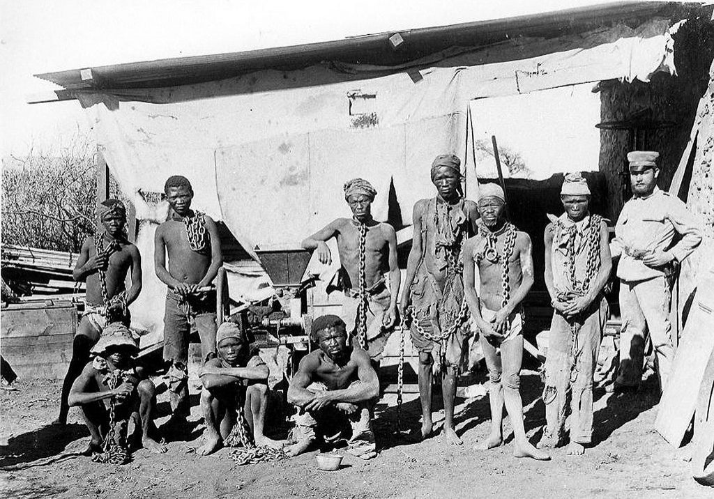 Prisoners taken during Germany's 1904-1908 war against the Herero and Nama in Namibia. (Photo: AFP/HO/National Archives of Namibia)