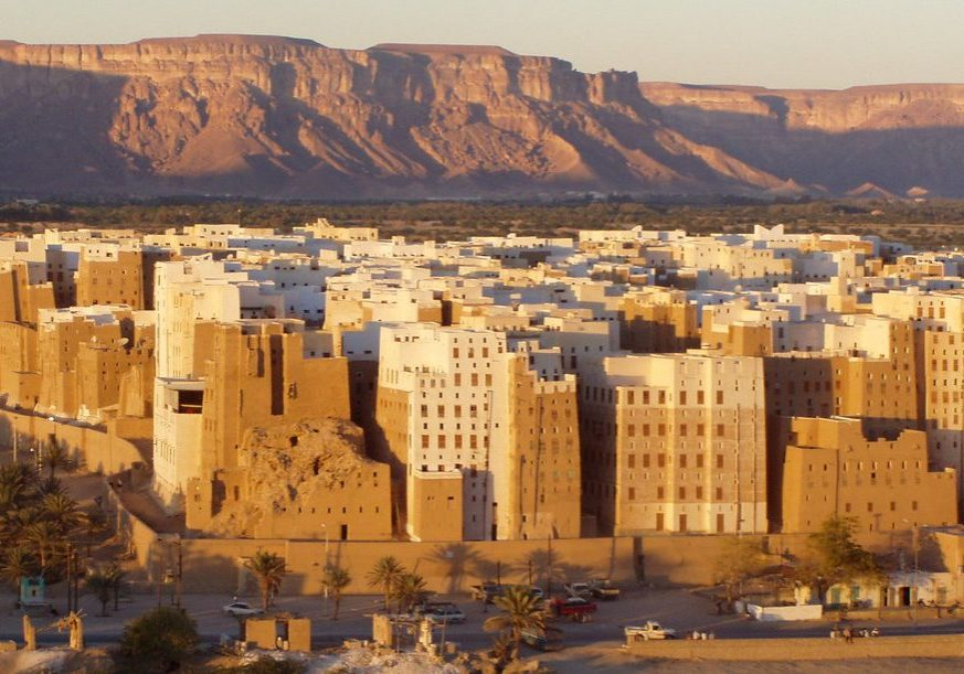 "Shibam, the ""Manhattan of the Desert,"" is an ancient mud-brick metropolis and a cultural treasure threatened by Saudi Arabia's war in Yemen. (Photo credit: Dan/Flickr Creative Commons)"